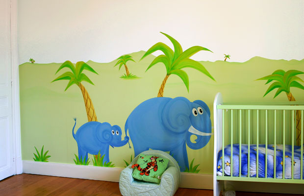 Interesting fresques murales peinture murale enfants luoasis au coeur de la jungle with peinture for Peinture murale chambre enfant