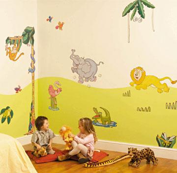 sabine design sabine design decoration enfants adhesifs muraux repositionnables autocollants dcoratifs gants pour mur denfants decor jungle - Decoration Stickers Muraux Adhesif