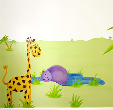 Sabine design sabine design peintures fresques for Peinture murale enfant